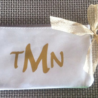 Silver and Gold Personalized Cosmetic Bag Zipper bag personalized great teacher gift