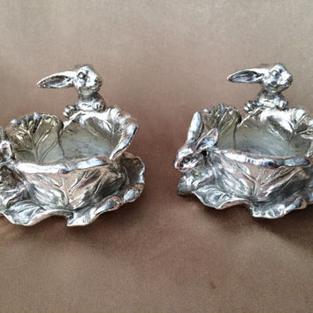 Silver Bunny Votive, Pewter Rabbit, Tealight Holders, Vintage Easter, Cabbage Leaf Candle Holders,  Unique Design, Easter Gift Heavy Quality