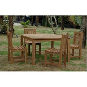 "Anderson Teak Windsor 47"" Square Table + 4 Classic Dining Chairs"