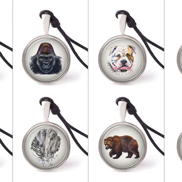Vietguild's Digital Hand-painted Animals Necklace Pendants Pewter Silver Jewelry