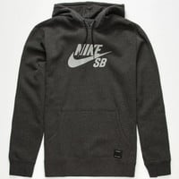 Nike Sb Icon Reflective Mens Hoodie Heather Black  In Sizes