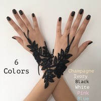 Black lace glove french lace bridal gloves, fingerless gloves black glove burlesque glove guantes steampunk glove goth wedding