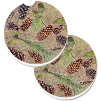 Pine Cones Set of 2 Cup Holder Car Coasters 8735CARC