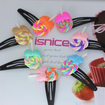 isnice 10pcs Lollipop With Bow BB Hair Clips Rainbow Color Hairpins Little Girl New Year Gifts 2018 Hair ornaments of headbands