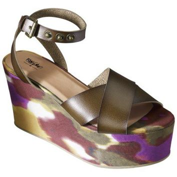 Women's Mossimo® Pinky Patterned Bottom Plank Wedge Sandal - Chocolate