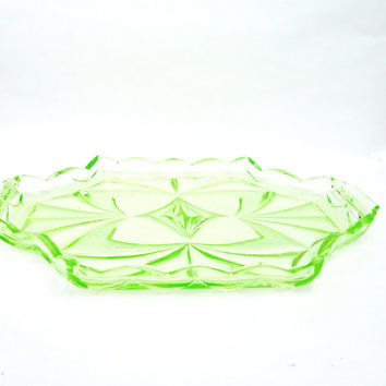 Vintage Lime Green Depression/Art Deco Tray, 1930-1950s, Sowerby Glassware, UK Seller