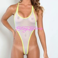 Monokini G-String - White Athletic Fishnet-Neon Yellow