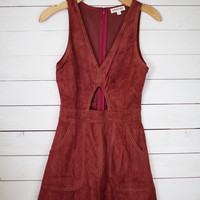 Keyhole Cut Out Suede Dress