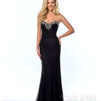 Terani 151P0076 Black Sweetheart Embellished Gown 2015 Prom Dresses
