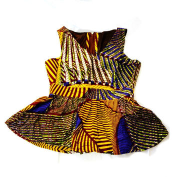 Purple And Yellow African Ankara Fabric Peplum Blouse, Women Peplum Blouse,  Women Party Top, dress top / blouse / evening wear