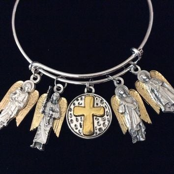 Archangel Expandable Charm Bracelet Jewelry Angel Michael Gabriel Raphael Uriel Inspirational Catholic Jewelry Adjustable Silver Gold 2 Toned One Size Fits All Gift