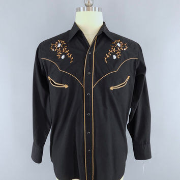 Vintage 1970s Western Shirt / 70s Men's Shirt / Ely Cattleman / Embroidered Rockabilly Shirt / Vintage Country Western Menswear / Large L
