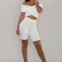 Cross Out Ribbed Crop Top - Off White
