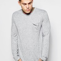 ASOS Longline Long Sleeve T-Shirt With Nepp Fabric