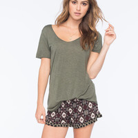 Full Tilt Medallion Print Womens Ruffle Shorts Olive  In Sizes