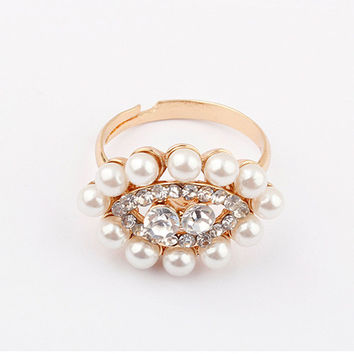 Jewelry New Arrival Shiny Gift Korean Strong Character Hot Sale Stylish Pearls Rhinestone Accessory Ring [4918800580]