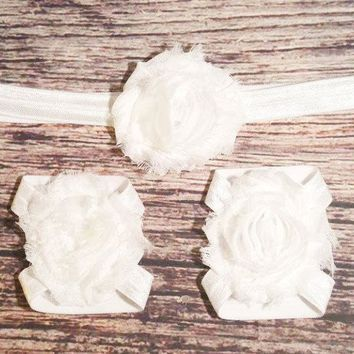 White Shabby Headband and Barefoot Sandals Set - Baby Girl Headband - Baby Barefoot Sandals - Baby Bows - White Headband - Baptism - Hair