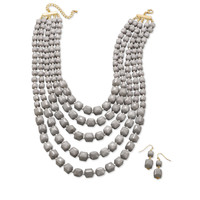 Graduated Multistrand Grey Bead Fashion Necklace and Earring Set