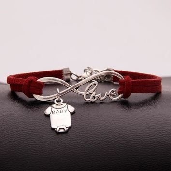 NCRHGL Infinity Love Leather Bracelets Bangles Baby Bodysuit Charm Handmade Boys Girls Bracelet Jewelry Lucky Gift Drop Shipping