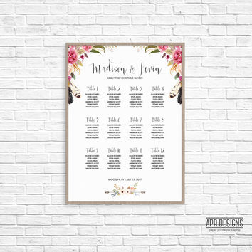 "Wedding Seating Chart | ""Bohemian Script"" 