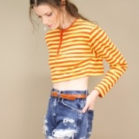 vintage red and yellow striped print crop top with long sleeves, 70's  | shopcuffs.com