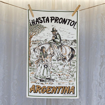Vintage Argentina HASTA PRONTO Tea Towel Vintage Kitchen Towel Dish Towel Indian pair with Horse