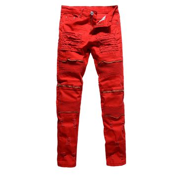 2017 Mens Male Club Biker Jeans White /red/black Knee Multi zipper Men Brand Slim Fit Cut Destroyed Jean Pants For Male Homme
