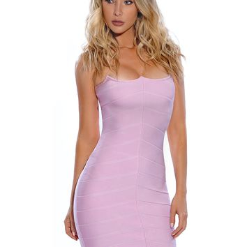 Mina Strapless Wired Bustier Lavender Bandage Dress