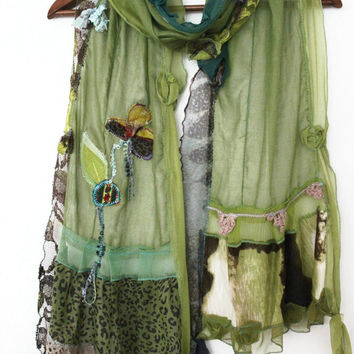 Green scarves, women's cotton shawls, forest green scarf, shawl applique, handmade scarves, unique design, Turkish fabrics ethnic women wrap