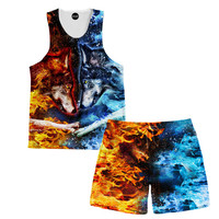 Fire and Ice Tank And Shorts Rave Outfit