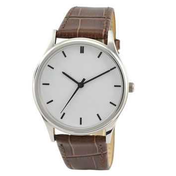 Minimalist  Watch (Silver/black) Brown Band