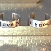 Star Wars Inspired - I Love You I Know -  Adjustable Aluminum Cuff Rings - Best Friends Rings