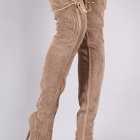 Perforated Open Toe Over The Knee Stilleto Heel Boots