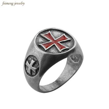 Assassin's Creed Alloy Antique Silver Steel Rings Cosplay Assassins Creed  Gamer Jewelry the Templar Ring for Women and Men