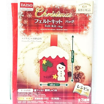 Felting Kit DIY Craft Kit with English Menu for Handmade Decoration Christmas Ornament Noel Snowman Snow House Bag