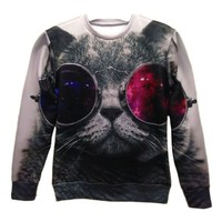 3d Red and Blue Glasses Cat Pullovers Galaxy Sweatshirts Top Size S