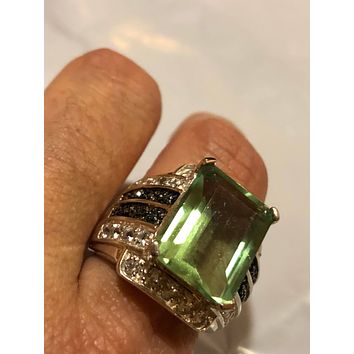 Vintage Handmade Genuine Green Flourite and white blue sapphire  925 Sterling Silver Deco Ring