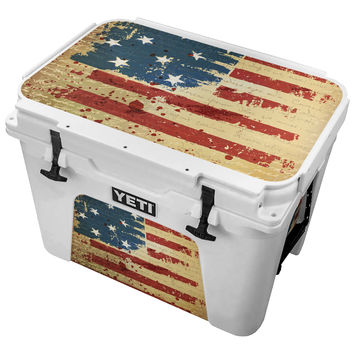 Gold Vintage Writing Behind Amercan Flag Skin for the Yeti Tundra Cooler