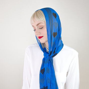 vintage satin hair heart scarf headband / silk hair scarf head wrap / 60s silk neck scarf / long silk scarf headband