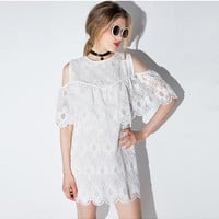 White Cutout Shoulder Cape Sleeves Lace Dress