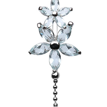 Luscious Flowers Droplets Belly Button Ring