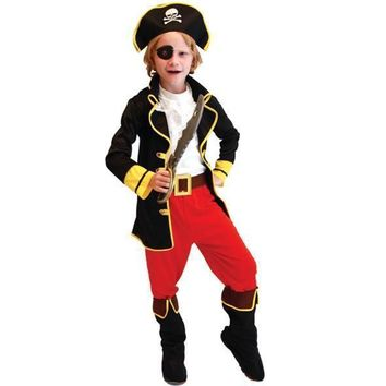 Pirate Captain Jack Cosplay Costume Children Halloween Party Cosply Clothing Top +Vest