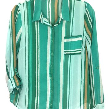 Anthropologie E Hanger M Button Down Green Striped Sheer Shirt Womens Small S - Preowned