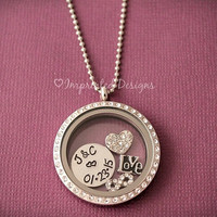 Floating Charm Locket / Personalized Couples Locket Necklace / Wedding Date Necklace / Memory Locket
