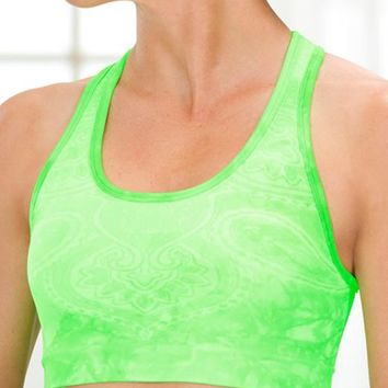 Athleta Womens Sprint Seamless Bra Size M - Halogen green