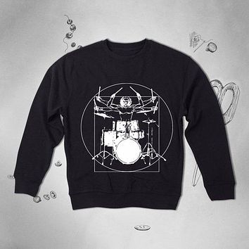 Vintage Da Vinci Drummer Graphic Men Sweatshirt  Top Sweater Pullover