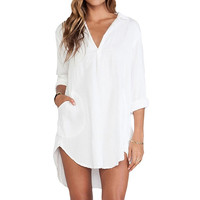 Long Sleeve V neck Sexy Mini Dress Summer Women Dress [4905489284]