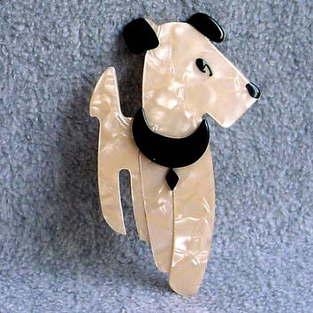 Lea Stein Pin Ric The Dog Terrier Brooch Signed Paris France cream Pearl Crackle Design Black Eyes And Ears 70s Airedale Celluloid Laminate
