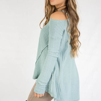 Treat You Better Moss Knit Cold Shoulder Top