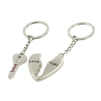 Couples Silver Tone Metal Heart Key Pendant Keychains Keyrings